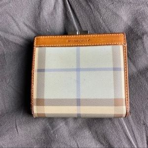 Authentic Burberry check plaid folding wallet